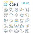 set flat line icons spring vector image vector image