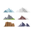 set mountain icons in flat vector image