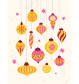 Set of festive retro Christmas ornaments 50s style vector image