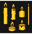 Set of gold silhouette burning candles vector image