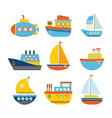 set of sea transport different kind of boats vector image vector image