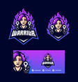 warrior girl concept template vector image