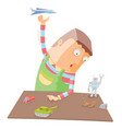 when a boy alone with his toys vector image vector image