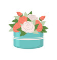 white and red roses in box gift container icon vector image