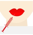 Woman face big thick red lips and neck Syringe vector image vector image