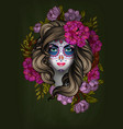 woman with calavera makeup day dead vector image