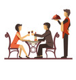 young couple dating in restaurant and waiter near vector image