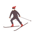young man in snow suit skiing guy on skis or vector image