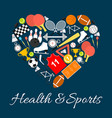 health and sports emblem in heart shape vector image