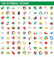 100 symbol icons set cartoon style vector image vector image
