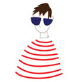 abstract portrait of a boy in red and white vector image vector image