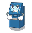 angry atm machine next to character table vector image vector image