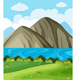 background scene with lake and mountains vector image vector image