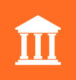 bank building icon in flat style museum on orange vector image vector image