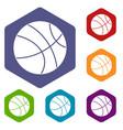 basketball ball icons set hexagon vector image vector image