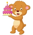 Bear cartoon with birthday cake vector image