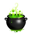 Black cauldron with green witches potion vector image vector image