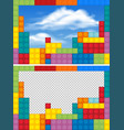 border templates with colorful blocks vector image