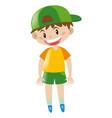 boy in yellow shirt standing vector image