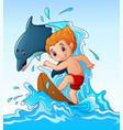 cartoon boy playing surfboard with a dolphin anima vector image vector image