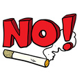 cartoon no smoking cigarette sign vector image