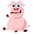 Cartoon pig waving hand vector image vector image