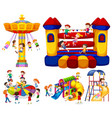 children playing on different rides vector image
