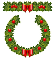 christmas holly garland and wreath vector image vector image