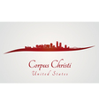 Corpus Christi skyline in red vector image vector image