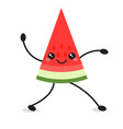cute cartoon dancing watermelon icon isolated on vector image
