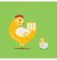 Cute cartoon hen and chick vector image vector image