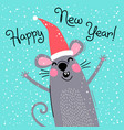 cute gray rat in santas hat wishes happy new year vector image vector image
