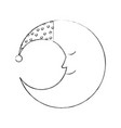 cute moon with sleeping hat vector image vector image