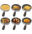Different food in the frying pan vector image vector image