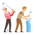 english sport golf player with helper isolated vector image