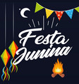 festa junina lamp flag bonfire black background ve vector image vector image