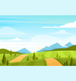 field landscape with hills vector image