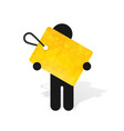 figure man holds yellow label vector image vector image