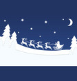 flying santa with reindeer over christmas night vector image