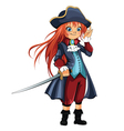 Girl-Pirate vector image vector image
