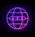 globe neon light icon internet cafe glowing sign vector image vector image