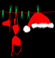 hanging red underwear and santa claus hat on vector image vector image