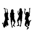happy jumping girl silhouettes vector image vector image
