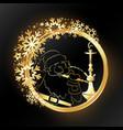 hookah and santa in a golden circle and snowflakes vector image