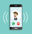 incoming call smartphone with call screen with vector image vector image