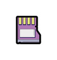 line color micro sd memory data technology vector image vector image