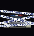 police tape with police car behind vector image vector image