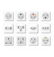 power socket icon set world standards for vector image vector image
