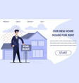 rent real estate landing page with booking online vector image vector image