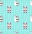 seamless pattern with cute eating panda vector image vector image